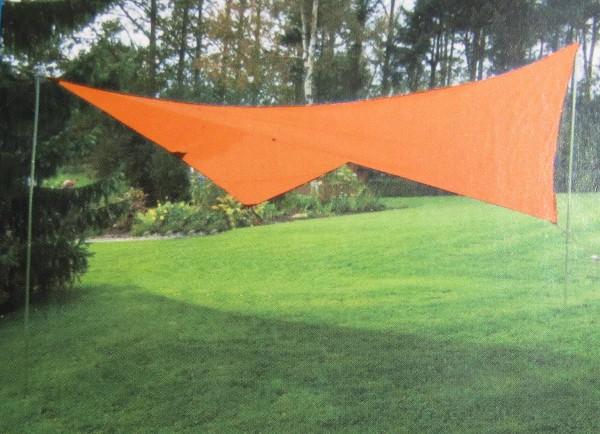 Sonnensegel 4 x 4 m orange versandkostenfrei mit Aufstellern