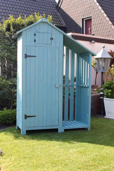 Gartenschrank Vintage PLUS Holz Farbe mint- Gerätehaus aus Holz
