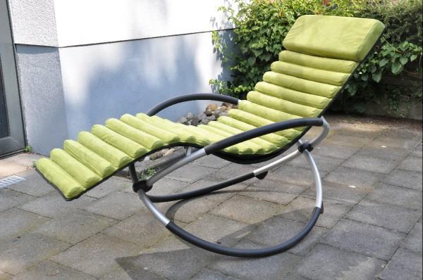 Schaukelstuhl Schaukelliege klappbar mit grüner Polsterauflage