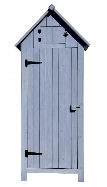 Vintage Gerätehaus aus Holz in grau- Gartenschrank Bausatz