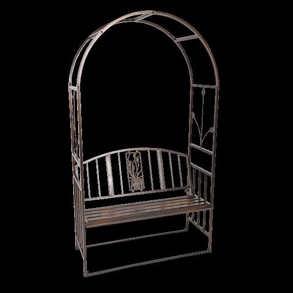 Rosenbogen mit Sitzbank - bronze lackiert