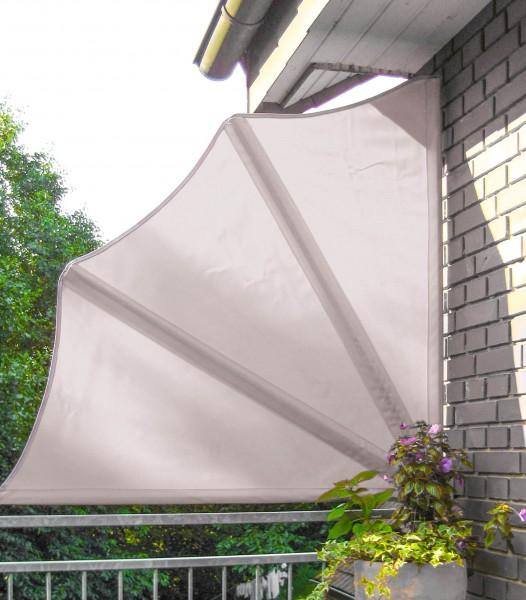 Balkonfächer naturfarben - Seitenmarkise, mit Abdeckhaube