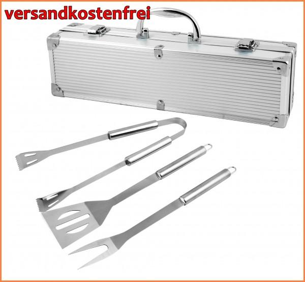 Grillbesteck im Alu-Koffer Retourware mit Sonderpreis- Grillkoffer mit dreiteiligem Grillbesteck-Cop