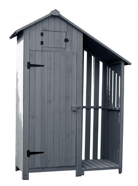 Gartenschrank Vintage PLUS in grau Gerätehaus - Bausatz Holz
