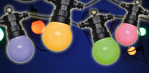 Party-Lichterkette 20 bunte LED-Lampen - High Quality - außen und innen