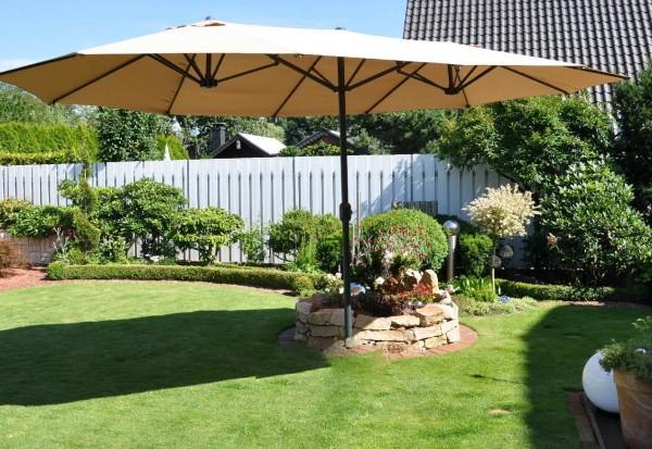 Oval-Schirm m. Schutzhülle Farbe sandfarben - Doppelsonnenschirm