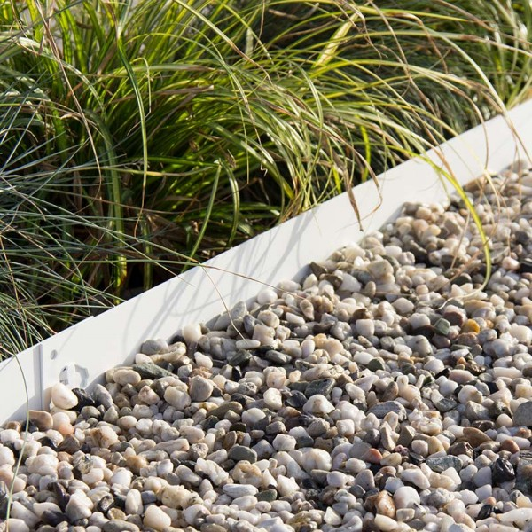 Rasenkanten weiß lackiert 10 St.=9,5 lfdm Höhe = 7,5 cm