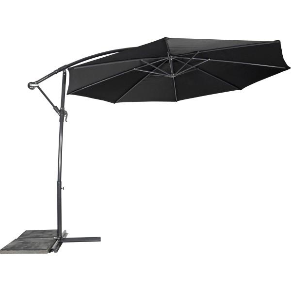 Ampelschirm GARDA schwarz - 3,00m - Sonnenschirm mit Kreuzfuß