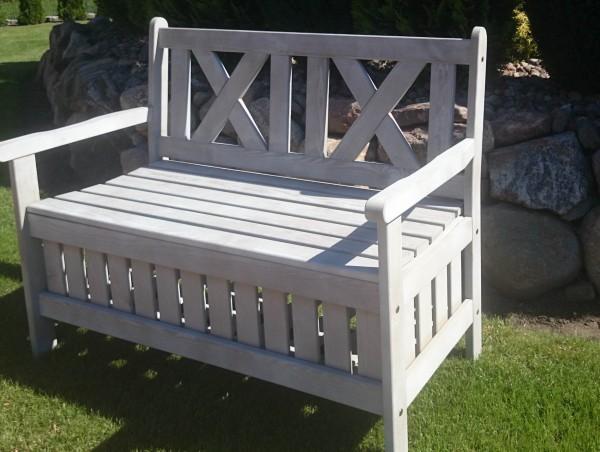 Gartenbank DUO aus Holz grau - Holzgartenbank mit Kissenbox