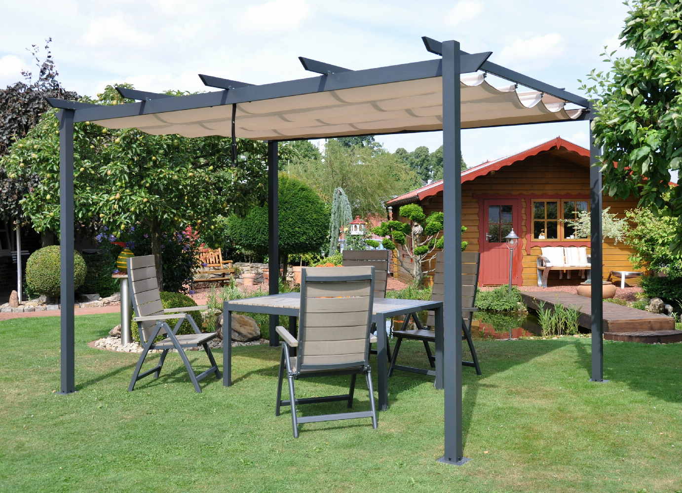 raff pavillon pergola faltdach vario gartenshop. Black Bedroom Furniture Sets. Home Design Ideas