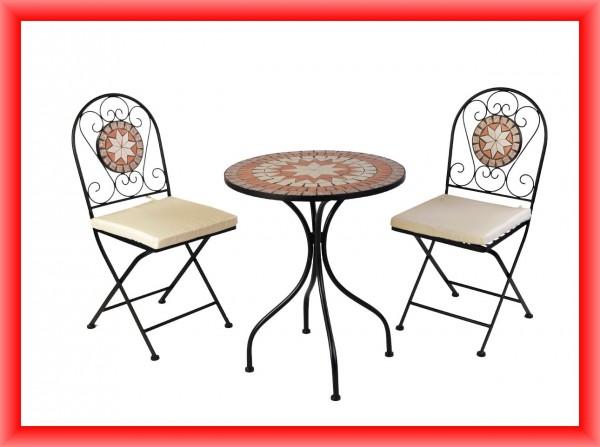 sitzgruppe mosaik aus eisen mosaiktisch mit st hlen hortomundo. Black Bedroom Furniture Sets. Home Design Ideas