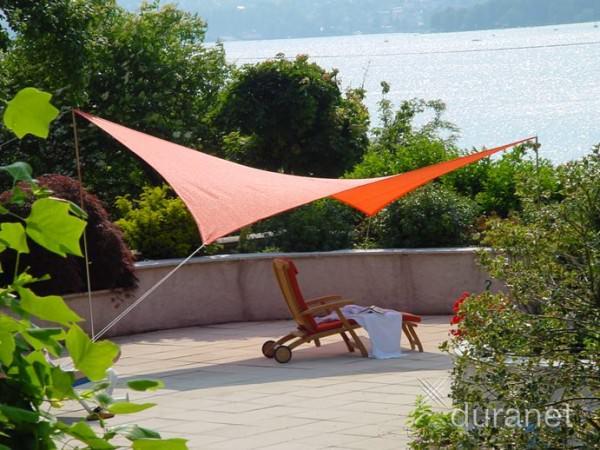 Sonnensegel 4m x 5m orange -mit Aufstellern-