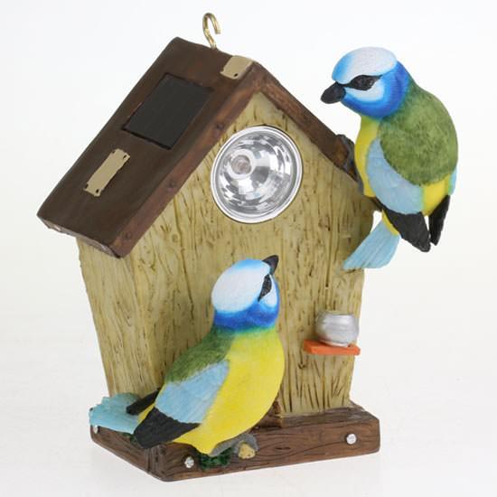 Vogelhausfigur mit Solarlampe